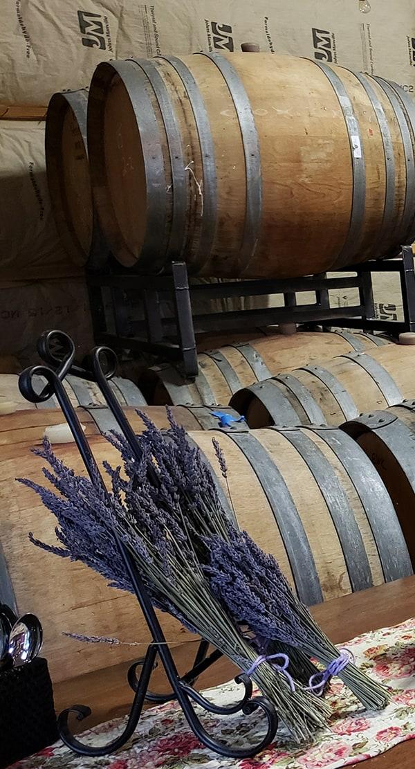 Dragon VIneyard barrels and lavender